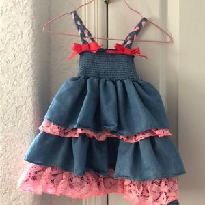 Blue jean and hot pink lace dress with ribbons